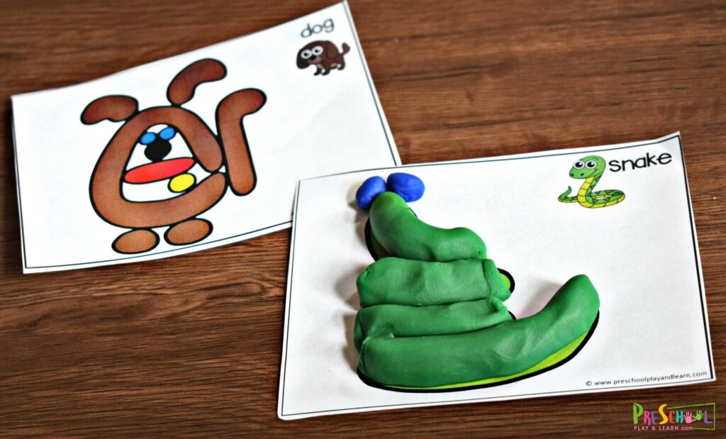 Now use the template on each playdough card to make the household pet with playdough.