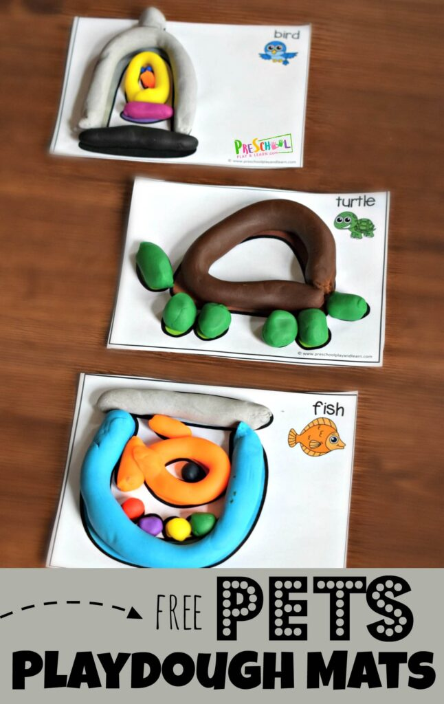 FREE Pets Playdough Mats - these super cute preschool printables allow kids to strengthen hands, have fun, all while enjoying this fun kids activity. #playdough #preschool #kindergarten
