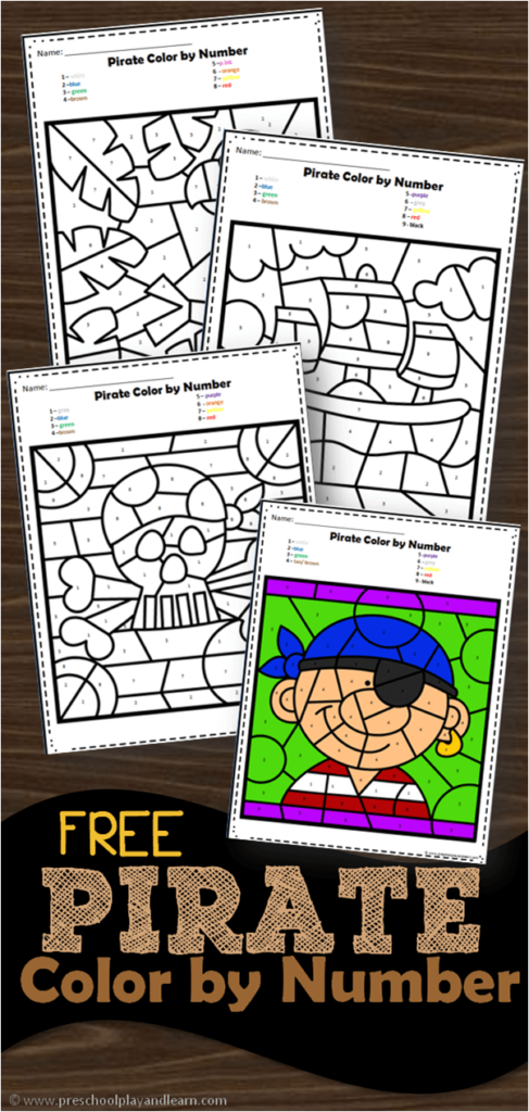 FREE Pirate Color by Number - super cute preschool worksheets to help perschoolers and kindergarten age kids practice number recognition with numbers 1-10 with color by number worksheets #colorbynumber #piratetheme #preschool