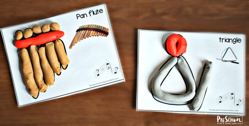 musical instrument playdough mats for preschool, kindergarten, first grade, and 2nd grade students.
