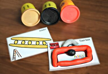 These free printable playdough mats feature tools