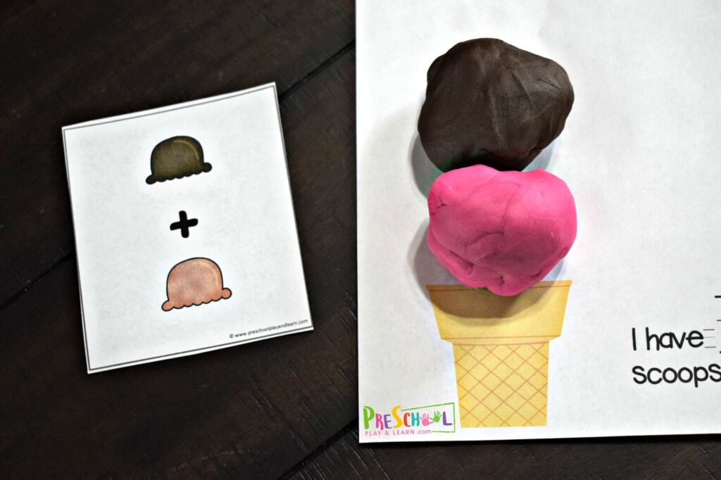 Introduce preschool addition with this hands on ice cream addition activity using playdough