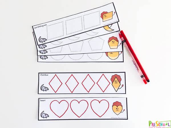 These shape tracing strips are perfect for preschool math.