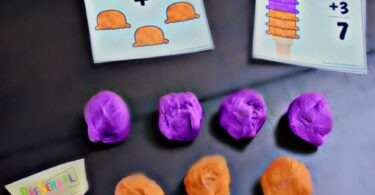 This preschool summer learning activity makes math fun with a hands on ice cream addition activity.