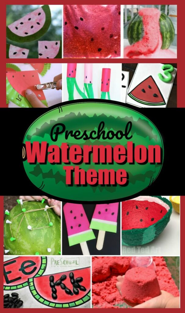 40+ Amazing Ideas for a Watermelon Theme to toddler, preschoolers, prek, and kindergarten age kids! Includes free printable math, literacy, and other educational activities, watermelon crafts, and watermelon kids activities perfect for summer #preschoolthemes #kindergarten #prek