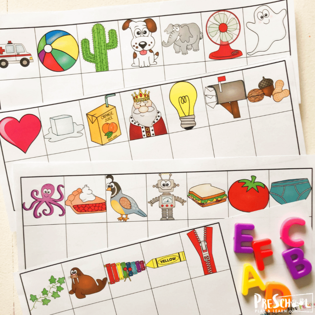 This is such a fun reading readiness game for prek that uses magnetic letters