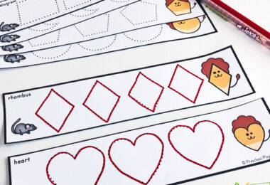 This activity has preschoolers practice shape tracing in a math activity to go along with lion and the mouse book.