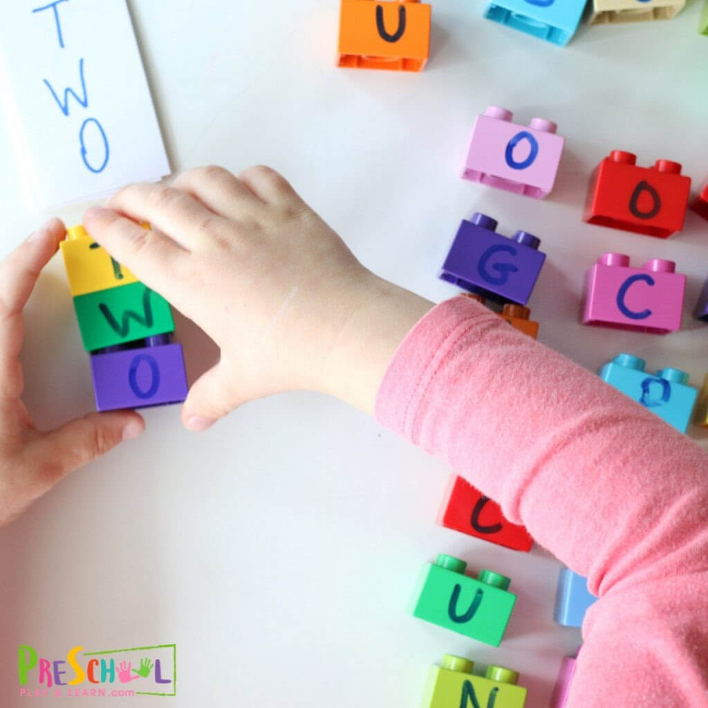 Lego spelling games for kids to play with any spelling words