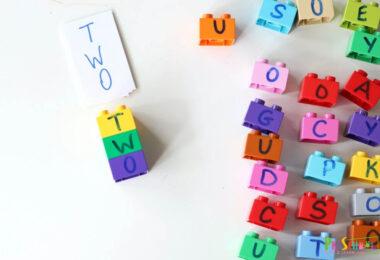 Fun, hands-on spelling practice idea for preschool, prek, kindergarten, and first grade students.