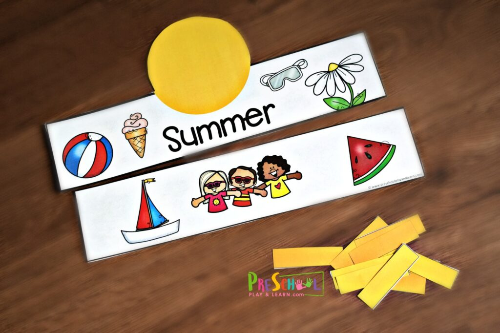 Super cute free printable summer crafts for preschoolers - lots of options in color and black and white.