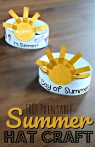 FREE First Day of Summer Printable Hat - this super cute summer craft for kids is a great way to celebrate summer with toddler, preschool, and kindergarten age kids! #summer #craftsforkids #preschool