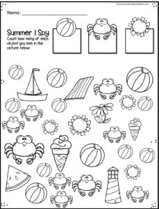 Summer I Spy Worksheet for counting