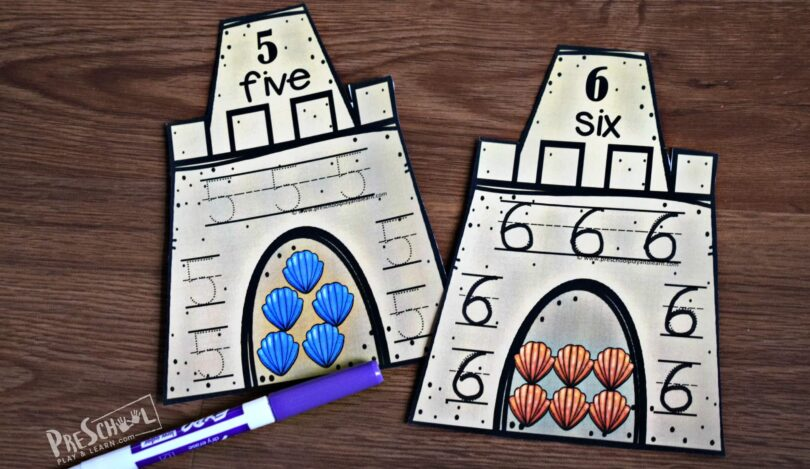 Trace numbers 1-10 for super cute, fun summer math for preschoolers.