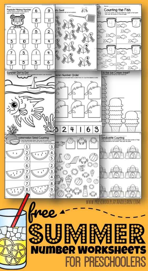 FREE Summer Number Worksheets - these free printable math worksheets help preschool and kindergarten age kids practice counting, tracing numbers, measuring, missing numbers, number differentiation, dot to dot, and more; perfect for summer learning! #preschool #summer #mathworksheets