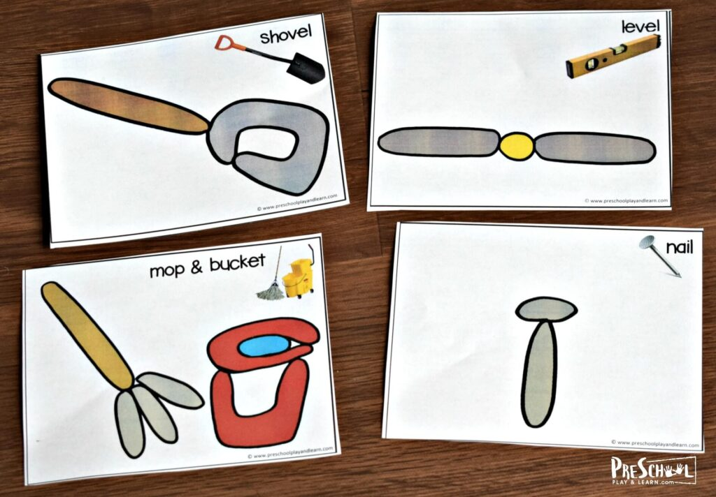 Kids will have fun learning about tools for kids with these printable tool playdough cards