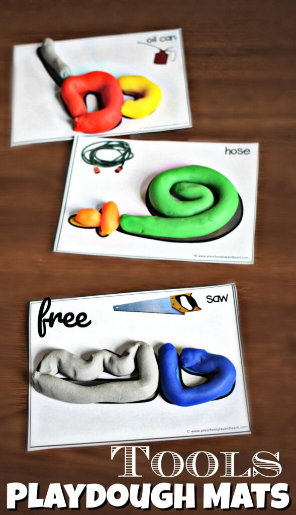 Kids will have fun learning about 12 different common tools and increasing their vocabulary while strengthening hand muscles with these super cute playdough mats. These free playdough mats are perfect for toddler, preschool, pre-k, kindergarten, and first grade students. Children will make a ladder, saw, hose, right angle, nail, level, hammer, tool box, mop & bucket, oil can, wrench, and shovel with this hands-on tool activities for kids. Simply download pdf file with tools printables to make learning fun.