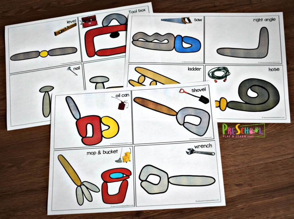 Free tools printables to help toddler, preschool, kindergarten, and first grade kids learn the name of common tools.
