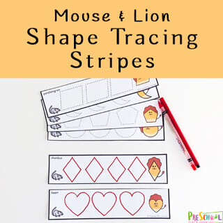 Practice tracing shapes with these super cute, FREE Mouse and Lion Shape Tracing Strips