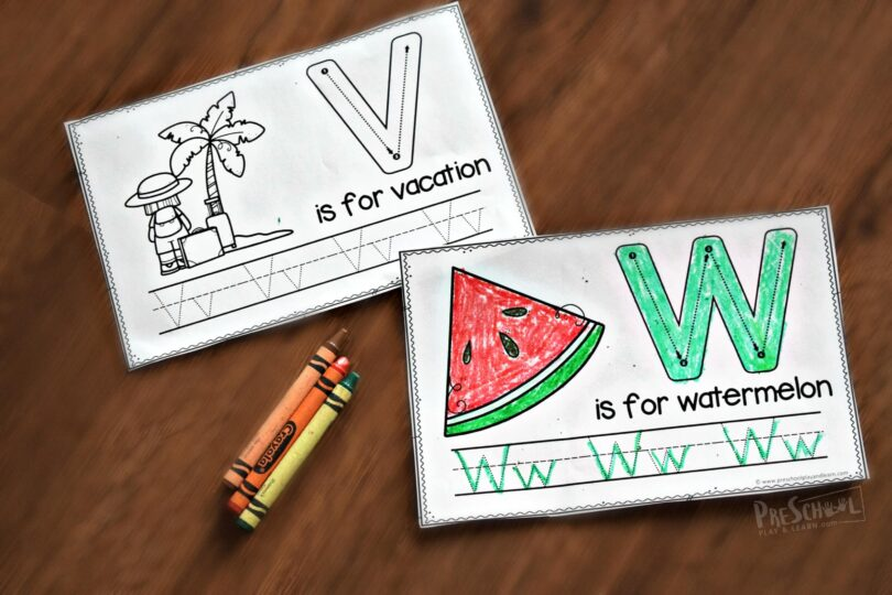 Kids will have fun practicing making uppercase letters with these fun summer themed worksheets for kids