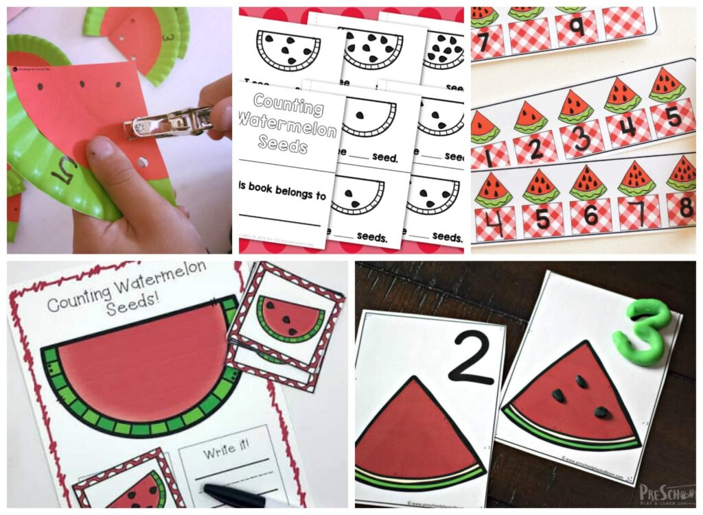 Free printable activities and hands-on watermelon math for preschoolers and kindergartners