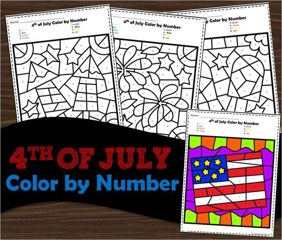 4th of July color by number worksheets for preschool and kindergarten