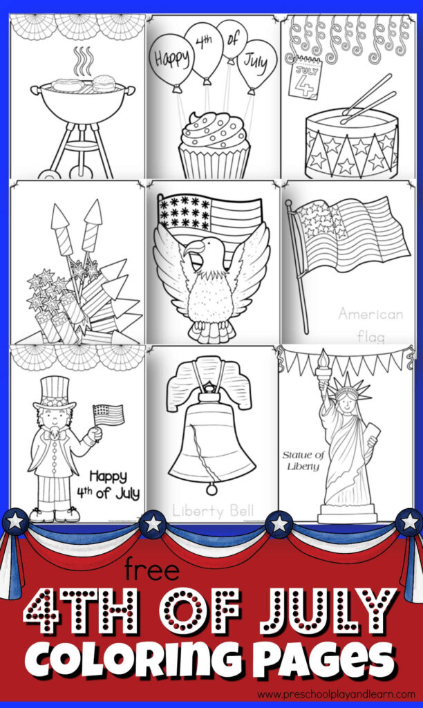 FREE 4th of July Coloring Pages - these free printable coloring sheets are a fun way for toddler, preschool, and kindergarten age kids to learn patriotic symbols while having fun! #4thofjuly #coloringpages #preschool
