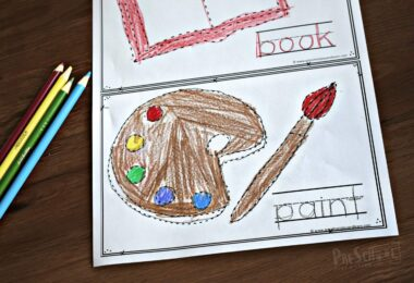 Back to School printables to help preschoolers and kindergartners trace school supplies in this fun first day of school activity.