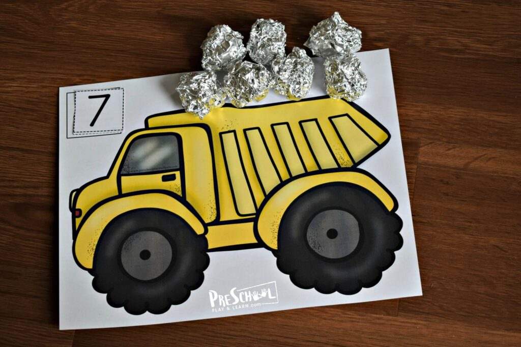 Use tin foil rocks to practice counting with this clever and FREE Construction Math Activities for Preschoolers.