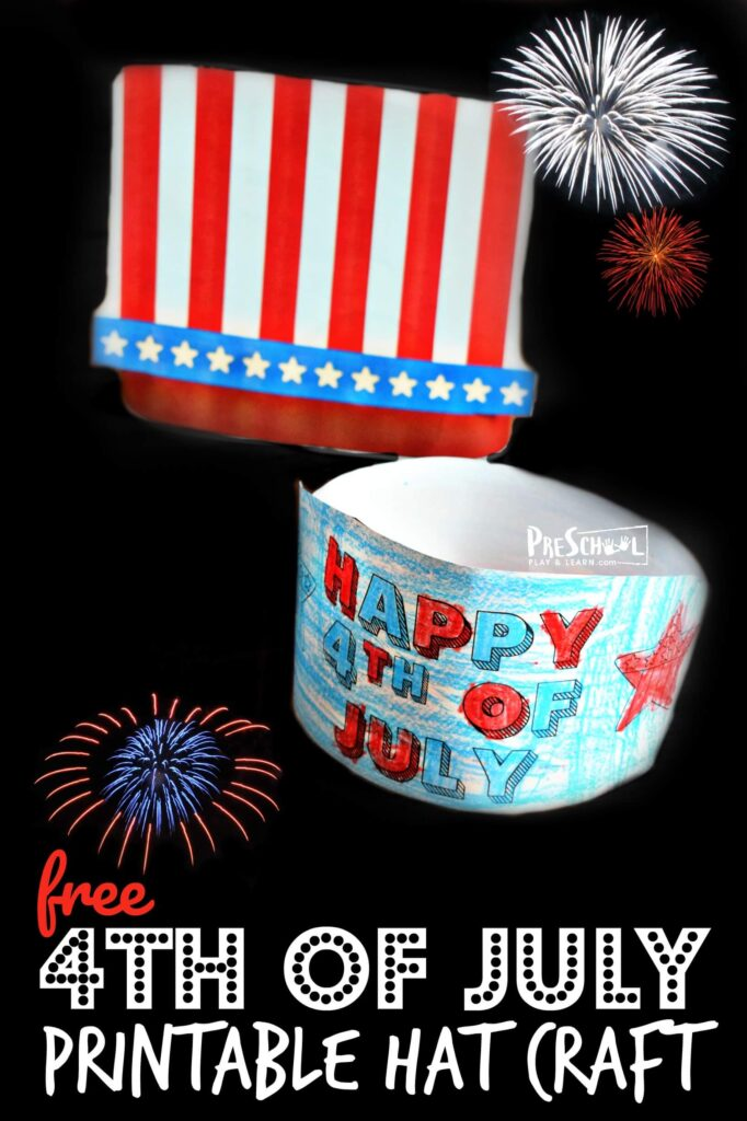 FREE Printable 4th of July Hat Craft - Celebrate the Fourth of July by making a fun 4th of July craft! Download our free template with several options in color or black and white to make a 4th of July Hat Craft. This such a cute fourth of July craft to make on Independence Day with toddler, preschool, pre k, kindergarten, first grade, 2nd grade, and 3rd grade students.