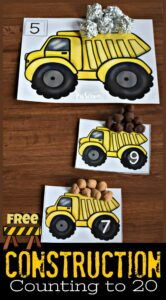 FREE Construction Counting to 20 - super cute number mats to help toddler, preschool, and kindergarten age kids practice counting 1-20. These number playdough mats are a fun, hands-on math activity for preschoolers who love dump trucks. #preschool #playdoughmat #counting