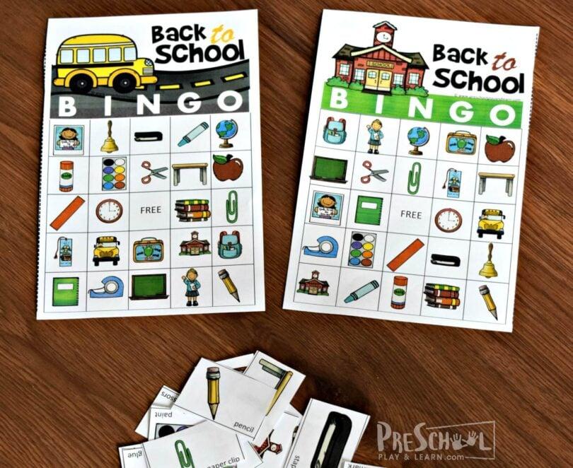 FREE Back to School BINGO Game — Preschool Play and Learn