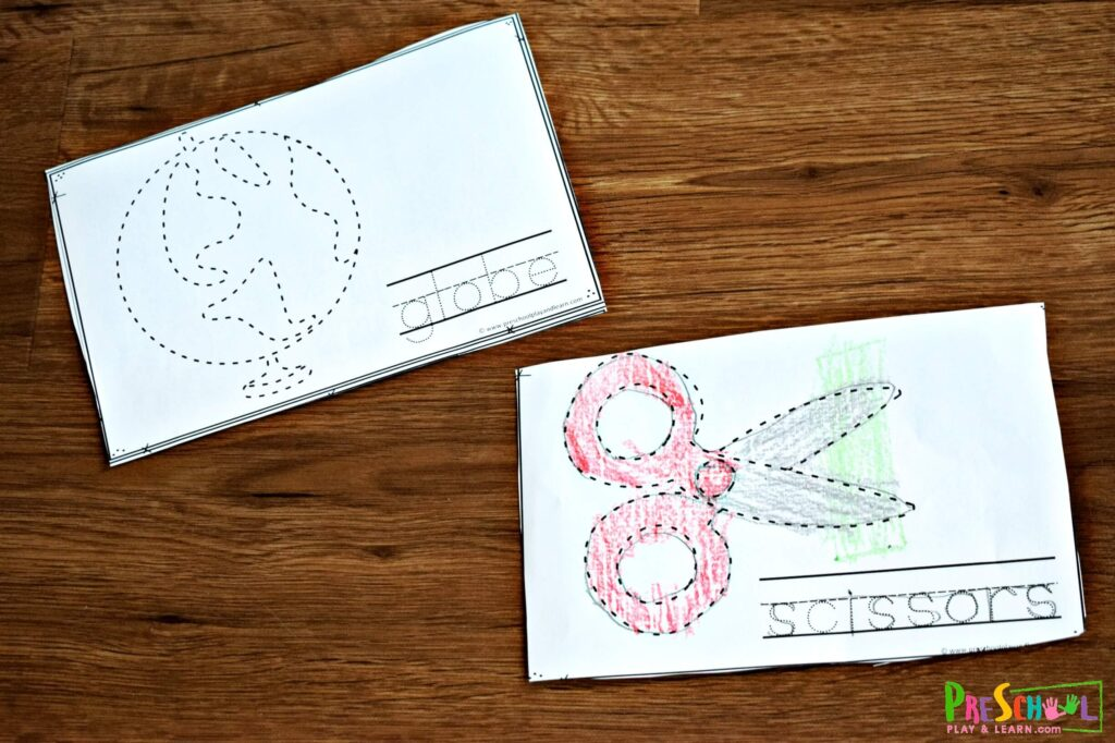 First Day of School Printables that help kids learn about school supplies with these tracing pages