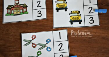 Count the schools, school buses, scissors and other school supplies in this frist dya of school printable math activity for preschoolers
