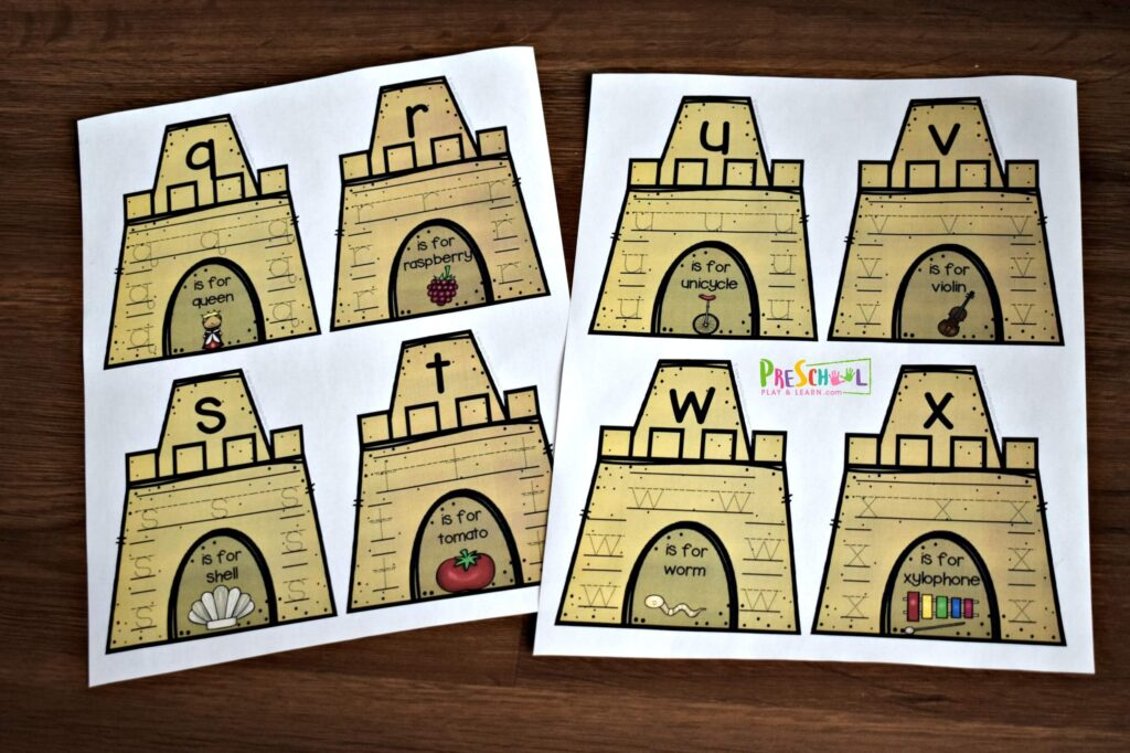 Super cute summer sandcastle themed Preschool Tracing Worksheets