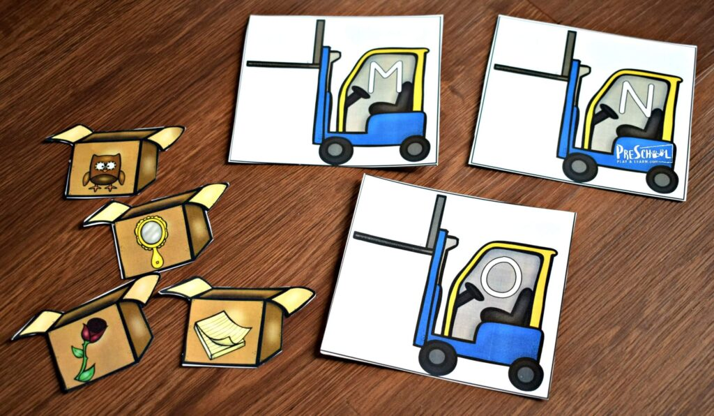 truck and boxes printable for phonics game