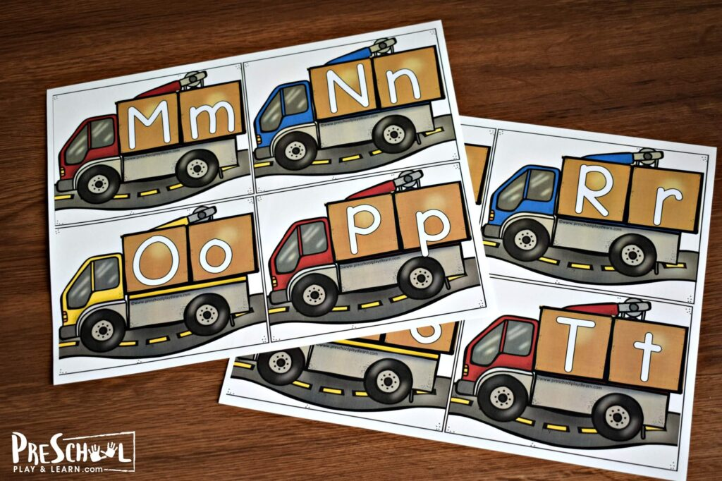 FREE printable construction themed or moving theme ABC games for preschool and kindergarten