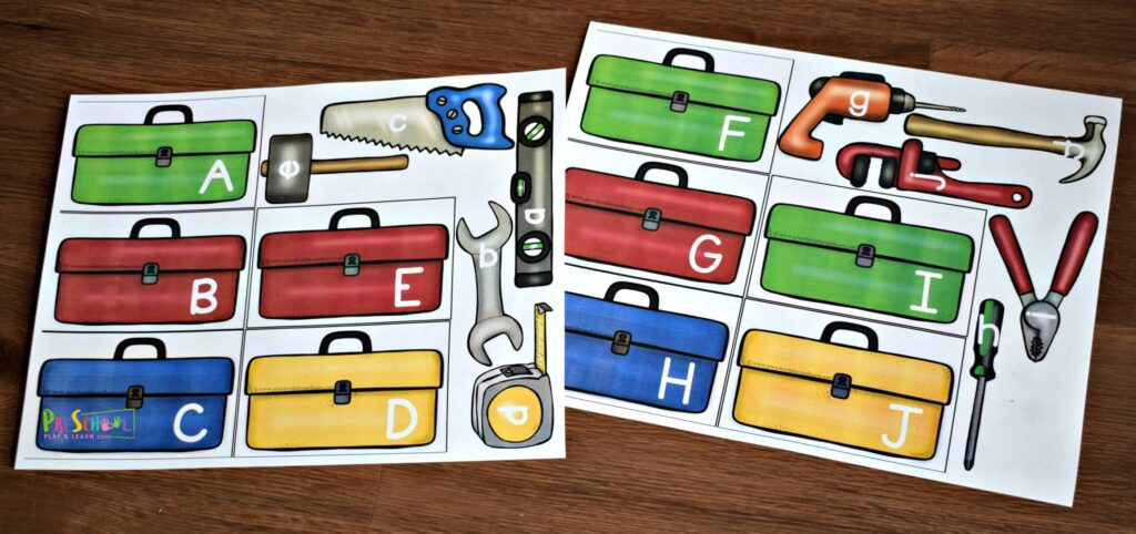 Tools theme alphabet matching activity