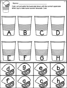 Fun alphabet worksheets to practice matching upper and lowercase letters with a cut and paste activity