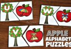 Free Printable Apple ABC Puzzles matching letters and pictures with same beginning sound