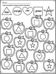 Apple printables to help kids learning shapes