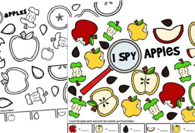 Apple Theme Printables to help preschoolers practice counting