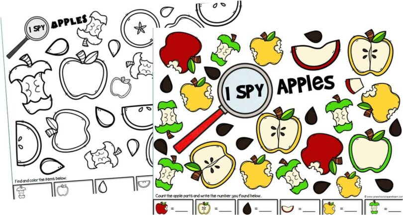 photo relating to Apple Pattern Printable known as Apple I Spy Preschool Recreation Preschool Perform and Discover