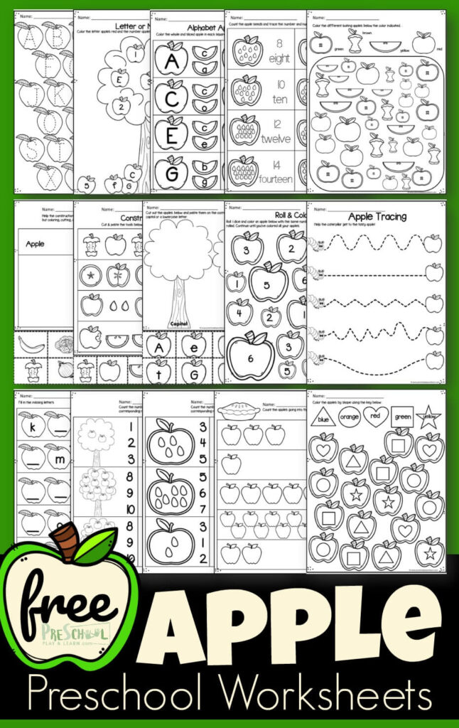 FREE Apple Worksheets - super cute free printable preschool and kindergarten worksheets for kids to practice alphabet letters, counting, cut and paste, and more for a fall, back to school, apple theme #appletheme #preschool #kindergarten