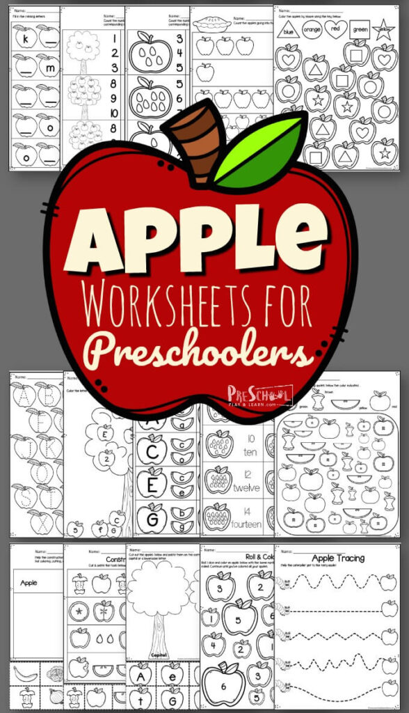 FREE Apple Worksheets for Preschoolers - free printable fall worksheets to help preschool, prek, and kindergarten age kids practice math and literacy skills #preschool #prek #kindergarten