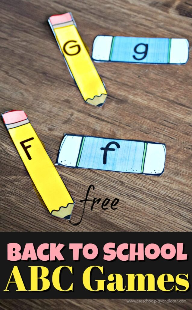 FREE Back to School ABC Games - this is such a fun alphabet activity for preschool and kindergarten age kids on the first day of school to practice matching upper and lowercase letters #backtoschool #firstdayofschool #alphabet #preschool