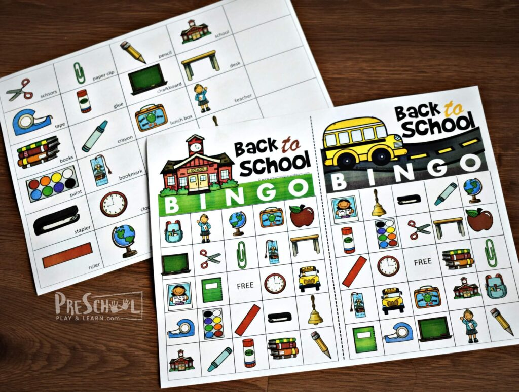 Free printable Back to School BINGO game for preschool, prek, kindergarten, and first grade kids perfect for the first day of school