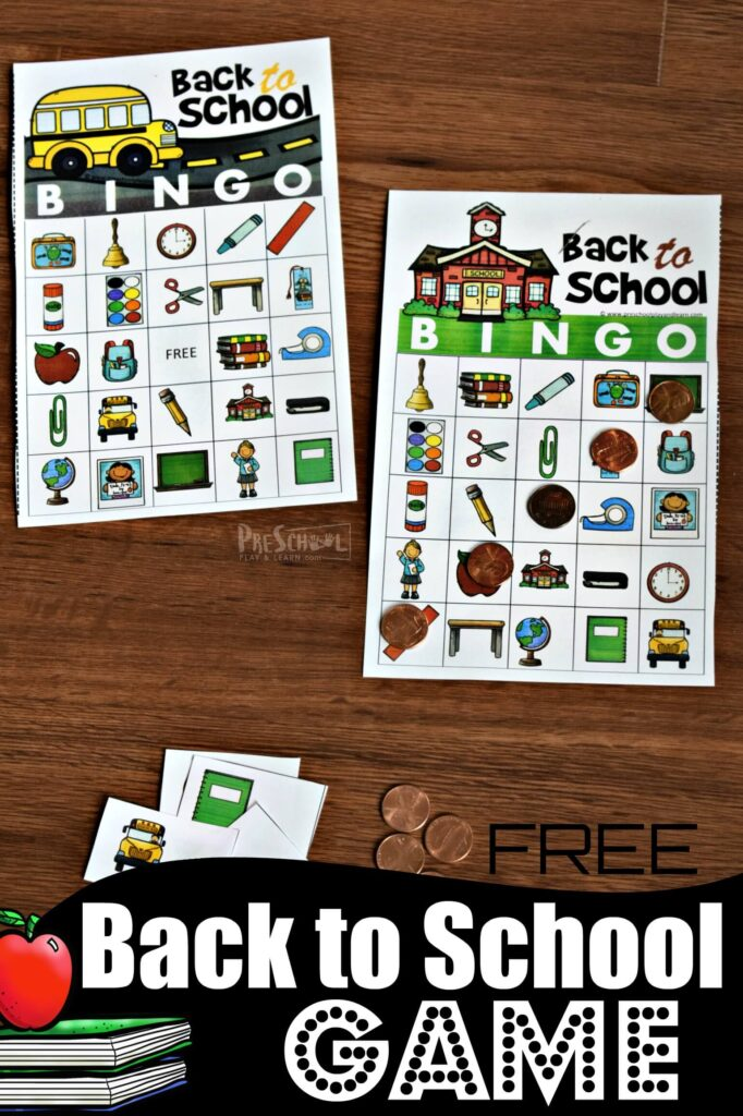 Celebrate the first day of school with this super cute, free printable back to school bingo. This fun back to school game is perfect for easing into learning with toddler, preschool, pre k, kindergarten, first grade, and 2nd grade students while working on visual discrimination, increasing vocabulary, and having FUN!