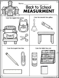 back to school measurement worksheet for prek