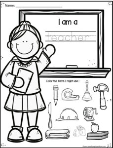 back to school preschool worksheet for teacher community helpers