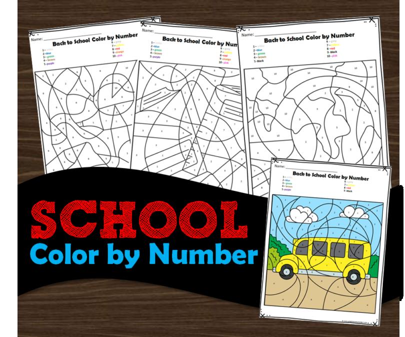 Super cute first day of school color by number worksheets for toddler, preschool, prek, kindergarten